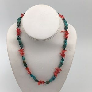 Sterling Silver 925 Turquoise W/ Red Coral Branch
